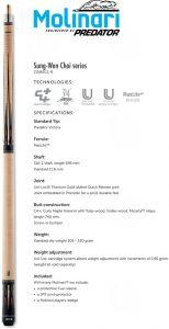 molinari-by-predator-crmsc1-9-3-cushion-billiard-cue-spec-sheet
